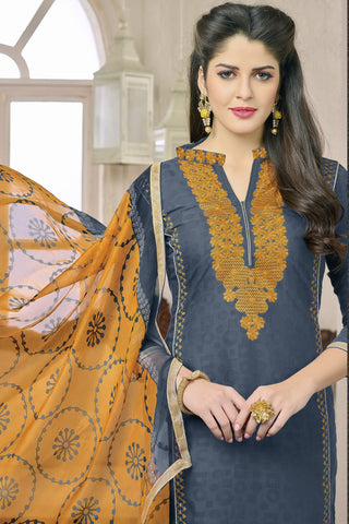 Designer Straight Cut:atisundar radiant Greyish Blue Designer Party Wear Embroidered Straight Cut in Cotton Jacquard - 12514 - atisundar - 4