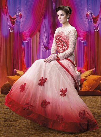 Designer Embroidered Suits:atisundar excellent Red And White Anarkali - 7851 - atisundar - 3