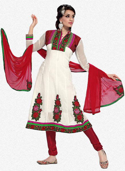 atisundar Trishala: Gorgeous Unstitched Salwar Kameez In White - 3433 - atisundar - 1 - click to zoom