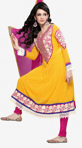 Wonderful Embroidery Yellow Unstitched Salwar Kameez By atisundar - 3434 - atisundar - 1 - click to zoom