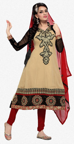 Enticing Embroidery Cream Unstitched Salwar Kameez By atisundar - 3436 - atisundar - 1 - click to zoom