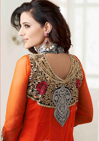 Designer Anarkali!:atisundar superb Orange Embroidered Anarkali - 8653 - atisundar - 4 - click to zoom