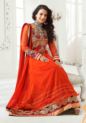 Designer Anarkali!:atisundar superb Orange Embroidered Anarkali - 8653 - atisundar - 3 - click to zoom
