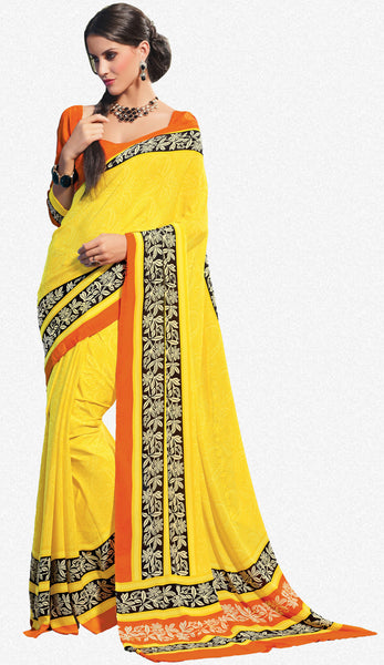 atisundar Devak: Beautiful Yellow Colored Saree In Crepe - 3482 - atisundar - 2 - click to zoom