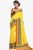 atisundar Devak: Beautiful Yellow Colored Saree In Crepe - 3482 - click to zoom