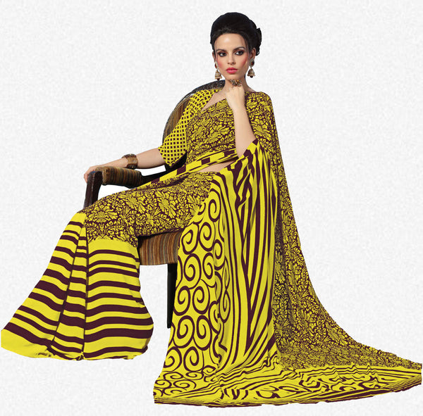 Beautiful Yellow Colored Print Saree - 3487 - atisundar - 3 - click to zoom