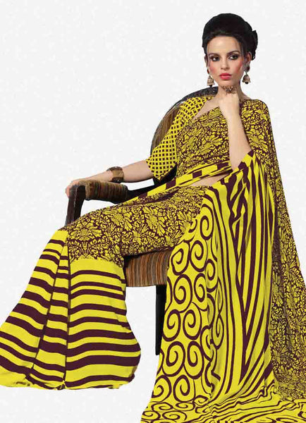 Beautiful Yellow Colored Print Saree - 3487 - atisundar - 1 - click to zoom