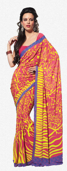 Excellent Pink Colored Print Saree - 3492 - atisundar - 1 - click to zoom