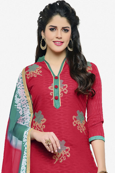 Designer Straight Cut:atisundar appealing Pink Designer Party Wear Embroidered Straight Cut in Cotton Jacquard - 12515 - atisundar - 2 - click to zoom