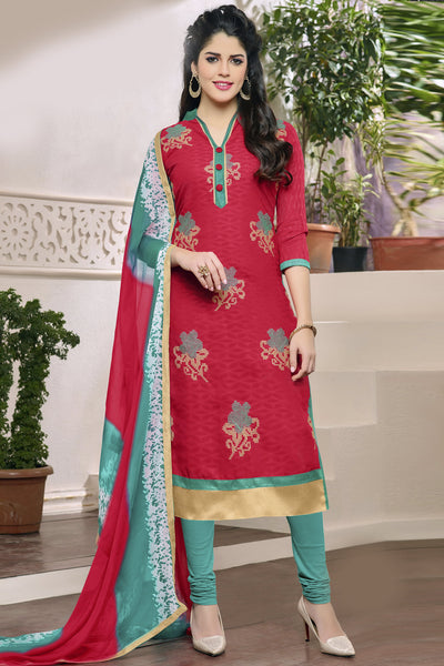 Designer Straight Cut:atisundar appealing Pink Designer Party Wear Embroidered Straight Cut in Cotton Jacquard - 12515 - atisundar - 3 - click to zoom
