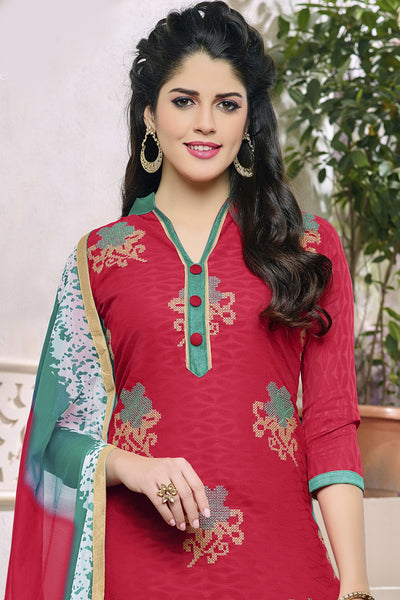 Designer Straight Cut:atisundar appealing Pink Designer Party Wear Embroidered Straight Cut in Cotton Jacquard - 12515 - atisundar - 4 - click to zoom