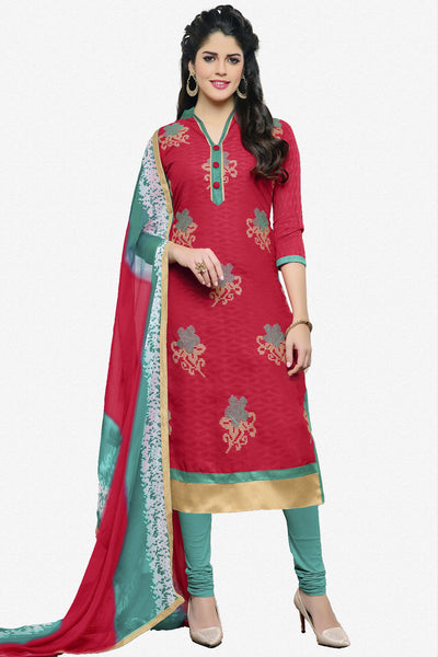 Designer Straight Cut:atisundar appealing Pink Designer Party Wear Embroidered Straight Cut in Cotton Jacquard - 12515 - atisundar - 1 - click to zoom