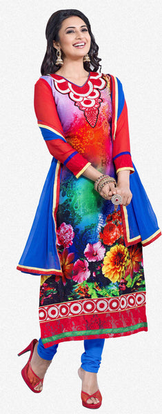 Straight Cut with Embroidery and Digital Print:atisundar charming Multi Straight Cut with Embroidery and Digital Print - 6294 - atisundar - 1 - click to zoom