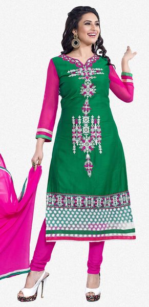 Straight Cut with Embroidery and Digital Print:atisundar comely Green And Multi Straight Cut with Embroidery and Digital Print - 6297 - atisundar - 1 - click to zoom