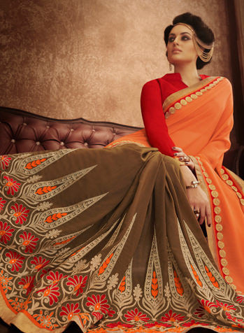 Designer Embroidered Saree:atisundar delicate Designer Embroidered Party Wear Sarees in Peach  - 8987 - atisundar - 3 - click to zoom