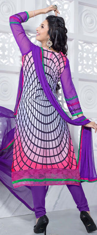 Straight Cut with Embroidery and Digital Print:atisundar pretty Pink And Purple Straight Cut with Embroidery and Digital Print - 6298 - atisundar - 3 - click to zoom