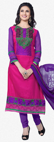 Straight Cut with Embroidery and Digital Print:atisundar pretty Pink And Purple Straight Cut with Embroidery and Digital Print - 6298 - atisundar - 1 - click to zoom