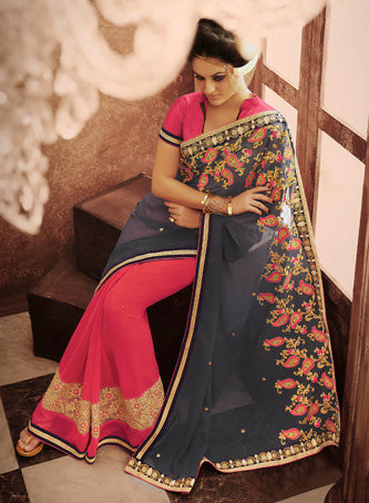 Designer Embroidered Saree:atisundar delicate Designer Embroidered Party Wear Sarees in Grey  - 8992 - atisundar - 3