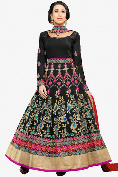 The Karishma Kapoor Collection:atisundar Beautiful Black Party wear anarkalis with embroidered sleeves featuring Karishma Kapoor - 10233 - click to zoom