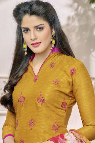 Designer Straight Cut:atisundar resplendent Yellow Designer Party Wear Embroidered Straight Cut in Cotton Jacquard - 12516 - atisundar - 4