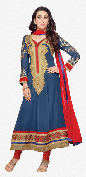 Designer Party Wear Semi Stiched Anarkalis:atisundar angelic 60 Georgette Designer Semi-stitched Party Wear Anarkalis in Blue - 5820 - click to zoom