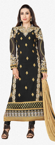 Designer Party Wear Straight Cut Suits:atisundar Beautiful 60 Gm Georgette Designer Party Wear Straight Cut Suits In Faux Georgette in Black - 5826 - atisundar - 2 - click to zoom