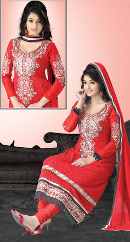 Radiant Embroidery Red Unstitched Salwar Kameez By atisundar - 3686 - atisundar - 5