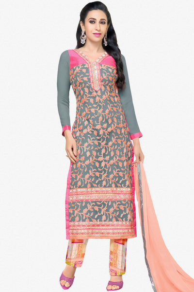 The Karishma Kapoor Collection:atisundar stunning Grey And Peach Embroidered Chain Stitch Lakhnavi Work Straight Cut Suit In Net And Faux Georgette With Printed Bottom - 10049 - click to zoom