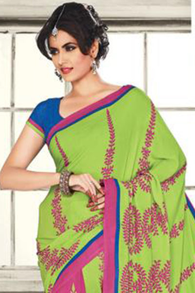 atisundar Mananya: Charismatic Pink Colored Saree In Crepe - 3472 - atisundar - 5 - click to zoom