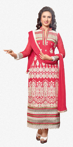 Designer Embroidered Straight Cut In Pure Cotton:atisundar fair   in Pink - 5733 - atisundar - 2 - click to zoom