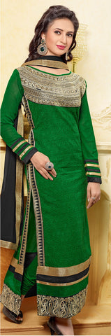 Designer Embroidered Straight Cut In Pure Cotton:atisundar lovely   in Dark Green - 5735 - atisundar - 4 - click to zoom