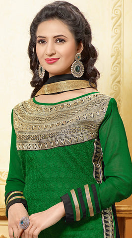 Designer Embroidered Straight Cut In Pure Cotton:atisundar lovely   in Dark Green - 5735 - atisundar - 5