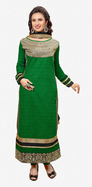 Designer Embroidered Straight Cut In Pure Cotton:atisundar lovely   in Dark Green - 5735 - click to zoom