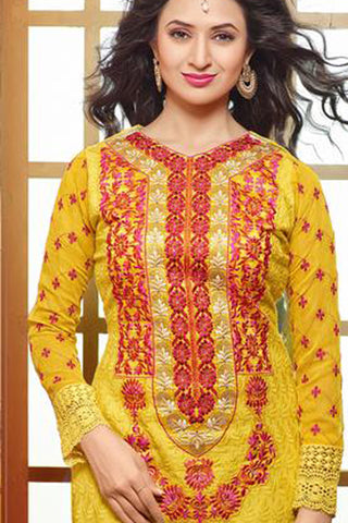 Designer Embroidered Straight Cut In Pure Cotton:atisundar pretty   in Yellow - 5737