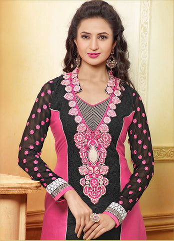 Designer Embroidered Straight Cut In Pure Cotton:atisundar fascinating   in Black And Pink - 5740 - atisundar - 4