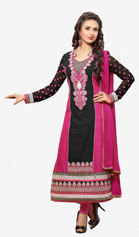 Designer Embroidered Straight Cut In Pure Cotton:atisundar fascinating   in Black And Pink - 5740 - atisundar - 2 - click to zoom