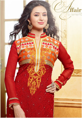 Designer Embroidered Straight Cut In Pure Cotton:atisundar Great   in Red - 5742 - atisundar - 4