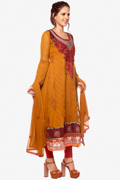 atisundar Surabhi: Elegant Semi stitched Anarkali In Brown - 3718 - click to zoom