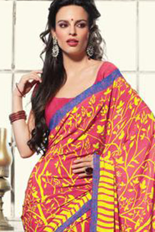 Excellent Pink Colored Print Saree - 3492 - atisundar - 4