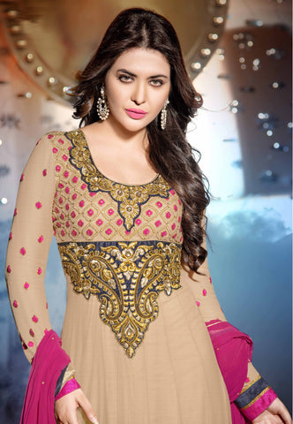 atisundar ravishing Beige Designer Embroidered Anarkali - 5934 - atisundar - 4 - click to zoom