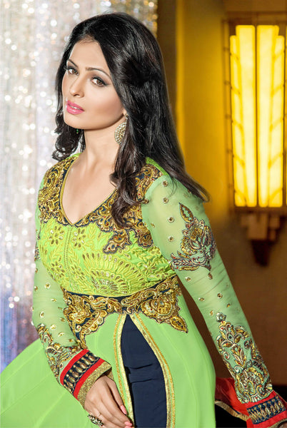 atisundar marvelous Parrot Green  Designer Embroidered Anarkali In Pure Bemberg Viscose Georgette - 5938 - atisundar - 5 - click to zoom