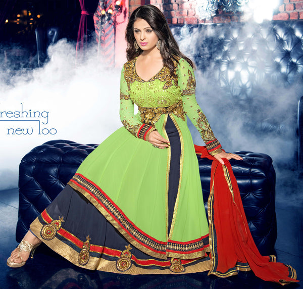 atisundar marvelous Parrot Green  Designer Embroidered Anarkali In Pure Bemberg Viscose Georgette - 5938 - atisundar - 4 - click to zoom