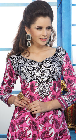 Designer Printed Pakistani Style Suits in Glaze Cotton:atisundar delicate Pink And White Designer Printed Unstitched Suits - 6461 - atisundar - 5
