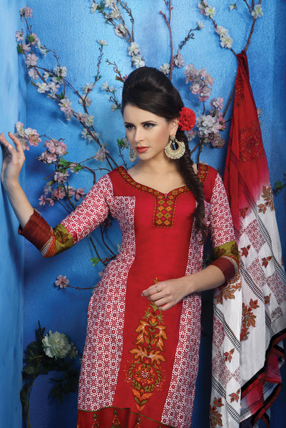Designer Printed Pakistani Style Suits in Glaze Cotton:atisundar Charismatic Maroon And White Designer Printed Unstitched Suits - 6465 - atisundar - 5 - click to zoom