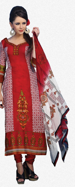 Designer Printed Pakistani Style Suits in Glaze Cotton:atisundar Charismatic Maroon And White Designer Printed Unstitched Suits - 6465 - atisundar - 2 - click to zoom