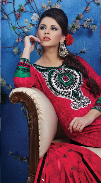 Designer Printed Pakistani Style Suits in Glaze Cotton:atisundar Charismatic Pink Designer Printed Unstitched Suits - 6467 - atisundar - 4 - click to zoom