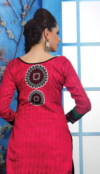 Designer Printed Pakistani Style Suits in Glaze Cotton:atisundar Charismatic Pink Designer Printed Unstitched Suits - 6467 - atisundar - 5 - click to zoom