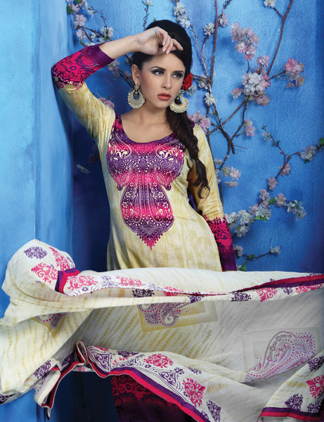 Designer Printed Pakistani Style Suits in Glaze Cotton:atisundar resplendent Musturd And Pink Designer Printed Unstitched Suits - 6468 - atisundar - 4 - click to zoom