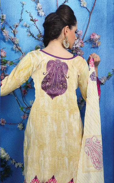 Designer Printed Pakistani Style Suits in Glaze Cotton:atisundar resplendent Musturd And Pink Designer Printed Unstitched Suits - 6468 - atisundar - 5 - click to zoom