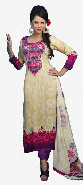 Designer Printed Pakistani Style Suits in Glaze Cotton:atisundar resplendent Musturd And Pink Designer Printed Unstitched Suits - 6468 - atisundar - 2 - click to zoom